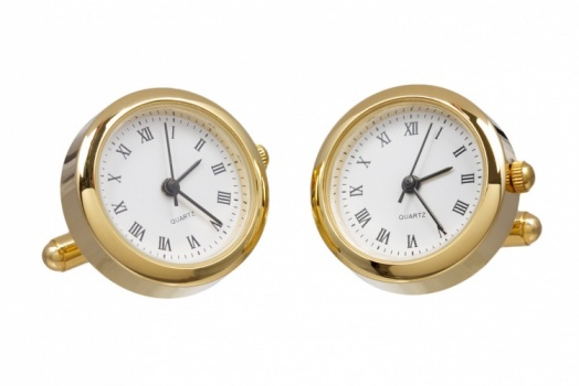 Round Gold Colour Working Watch Cufflinks